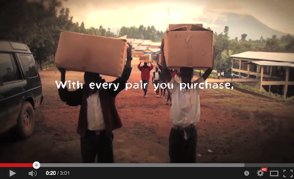Screenshot from YouTube video of social enterprise Toms Shoes