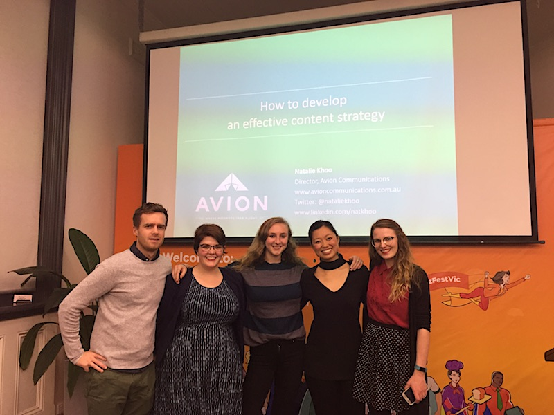 Avion team on content strategy presentation
