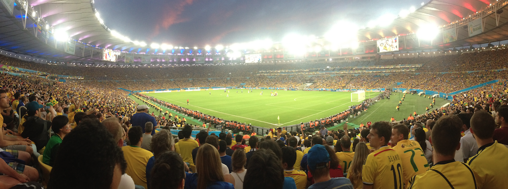 Panoramic photo of match between Colombia and Uruguay. FIFA World Cup 2014