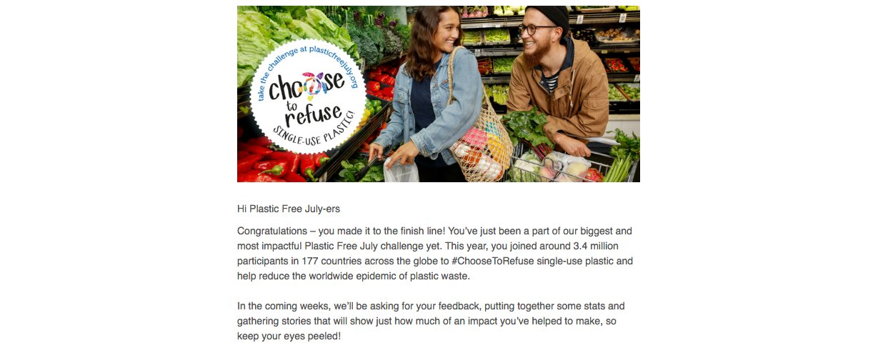 Plastic Free July email campaign